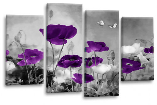 CHINESE FLORAL FLOWER SPLIT MULTI 4 PANEL PURPLE GREY PICTURE
